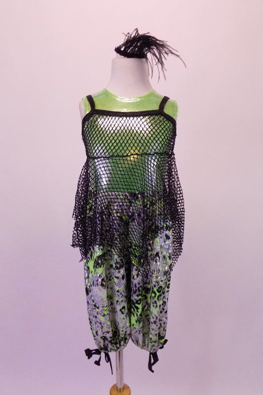 Metallic lime green tank is paired with silver black and green balloon capris. A large hole-mesh tunic-style tank rests over the top of the green tank. Comes with a hair accessory. Front
