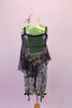 Metallic lime green tank is paired with silver black and green balloon capris. A large hole-mesh tunic-style tank rests over the top of the green tank. Comes with a hair accessory. Back