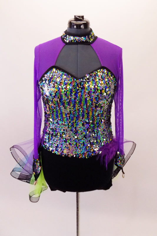 Bright colourful fully sequined costume has sheer mesh purple sleeves & shoulders attached to a sequined collar. The attached bustle skirt is layers of turquoise, lime &purple tulle with wide black stiffening band to create a wave effect. Comes with matching feathered Mardi-Gras mask that accents feathers at hip. Front