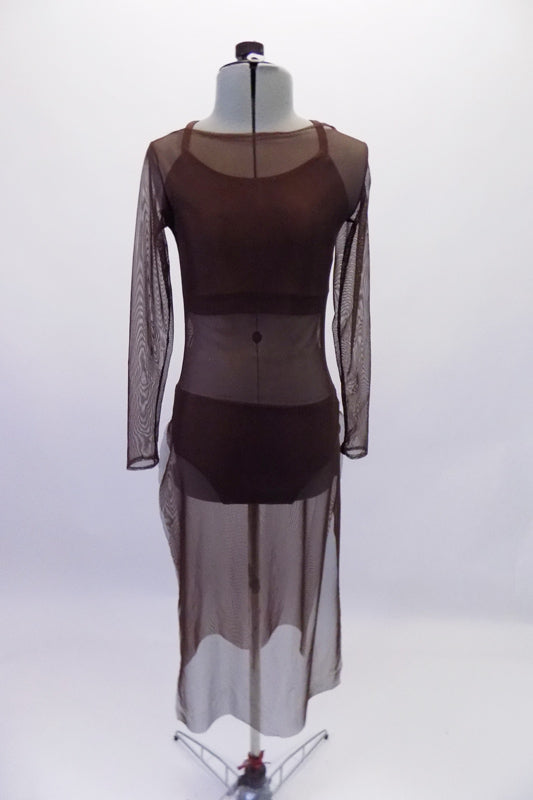 Three-piece brown contemporary costume is a bikini style brown half top and matching brief. The costume is completed by a calf-length brown, sheer mesh tunic cover dress with round neck and long sleeve. Front