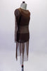 Three-piece brown contemporary costume is a bikini style brown half top and matching brief. The costume is completed by a calf-length brown, sheer mesh tunic cover dress with round neck and long sleeve. Side
