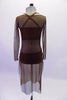 Three-piece brown contemporary costume is a bikini style brown half top and matching brief. The costume is completed by a calf-length brown, sheer mesh tunic cover dress with round neck and long sleeve. Back