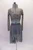 Grey camisole half-top sits beneath a grey sequined lace, long-sleeved half cover. The matching grey sheer mesh high-low skirt completes the look. Though simple and sparkly, the costume has a forlorn style. Comes with a hair accessory. Front