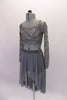 Grey camisole half-top sits beneath a grey sequined lace, long-sleeved half cover. The matching grey sheer mesh high-low skirt completes the look. Though simple and sparkly, the costume has a forlorn style. Comes with a hair accessory. Side