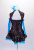 Dark chocolate brown sequined dress has an open front with crystalled turquoise pinched bust insert. The back has a triangular keyhole opening. Comes with matching long turquoise gauntlets and a turquoise floral hair accessory. Back