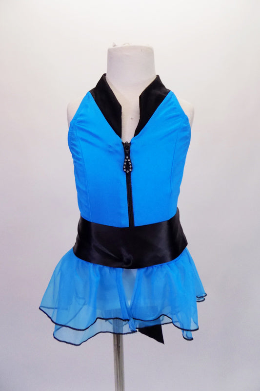 Turquoise, halter style top has princess seams and zip front. The delicate turquoise sheer double layered ruffle with black hem give the top a feminine flare. The wide satin ribbon belt ties at back. Can be paired with either black pants or shorts. Front