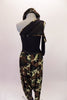One shoulder top with mesh accents at the waist. The right shoulder is a cold shoulder single mesh sleeve. Camouflage print harem pants accompany the top which also has some camouflage accents. Comes with a camouflage newsboy hat. Back