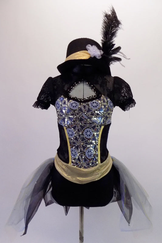 Black lace leotard has a high collar, pouffe sleeves & open back. The bodice has a peek-a-boo front opening &is  adorned with a silver jewelled steampunk pattern. The attached black & grey, open front tulle bustle skirt has scattered crystals. Comes with gold accented black felt bucket hat with a black ostrich feather. Front