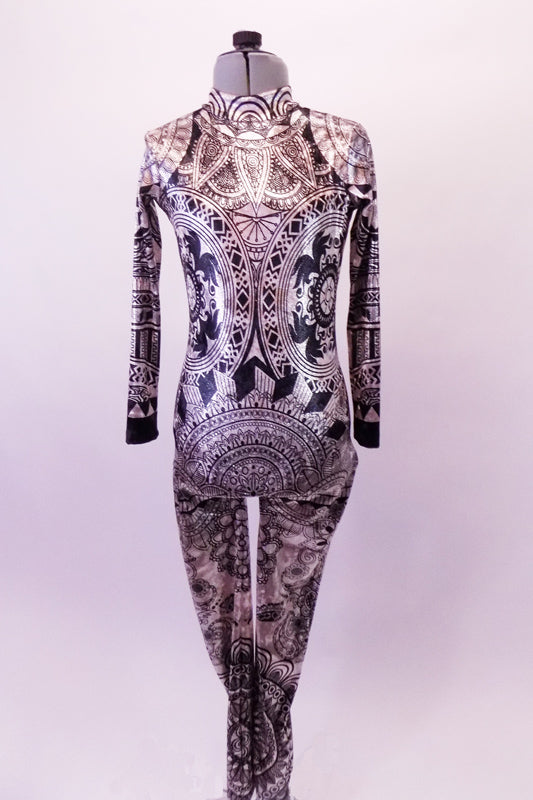 Gorgeous high halter collared full unitard with long sleeves has a shimmery nude velvet base with an intricate black velvet pattern reminiscent of hand-painted Mehndi designs. Front