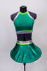 Bright emerald green metallic two piece has a hooped futuristic skirt with silve r& lime green waistband. The halter style top has crystals & matching accents. Front
