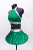Bright emerald green metallic two piece has a hooped futuristic skirt with silve r& lime green waistband. The halter style top has crystals & matching accents. Side