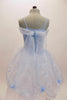 Pale blue dotted bodice has layers of white tulle, pale blue organza overlay with roses & a long  organza sash that extends down the back.  Comes with tiara. Back