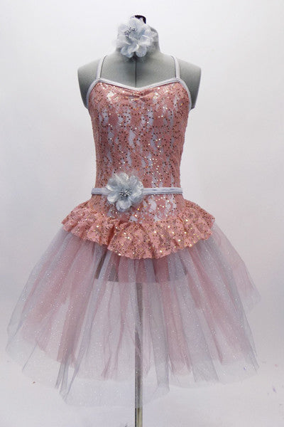 Blush coloured sequined lace bodice with attached panty & lace peplum, rests on layers of alternating  blush & pale grey crystal tulle. Has matching hair piece. Front