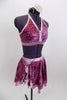 Costume has swirls of pink & purple. Bra is halter neck with  pale pink trim & crystals. Skirt has attached panty, pink underlay& crystal broach accent at hip. Side