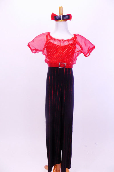 Pantsuit has red pinstripe black pants attached to red dotted organza blouse with red camisole underlay and a crystal buckle. Comes with hair accessory.  Front