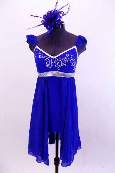 Royal Blue chiffon leotard dress has silver swirled accents and piping around bodice. It has ruffled chiffon cap sleeves, scoop back and matching hair accessory. Soft flowing nice for lyrical or ballet. Front
