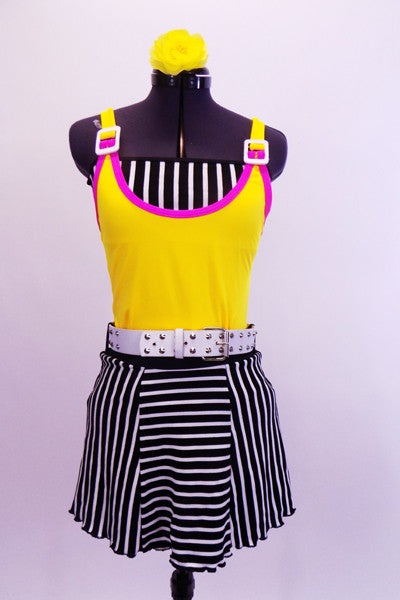 Three piece costume yellow leotard with pink piping and white shoulder buckles. The skirt is black and white striped alternating panels with a white belt and matching striped  bandeau top.  Comes with bright yellow hair accessory. Front