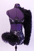 Leotard with silver mosaic butterfly pattern and black leather trim. Right arm, shoulder and left hip accent are black curly fur, Has matching hair accessory. Back
