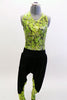Neon green, open backed leotard with black splatter pattern has black hip-hop harem pants with matching green pattern on lower leg.  Comes with hair accessory. Front