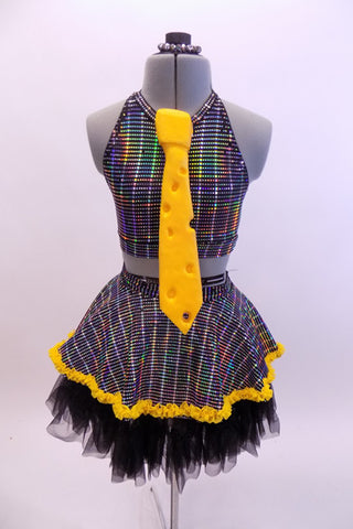 Iridescent  three piece costume has a halter half top with open back. Matching skirt has a black layered petticoat.Comes with large 3-D Swiss cheese foam tie. Front