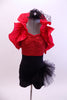 Black & red sequined short unitard has black dotted tulle hip bustle & removable red ruffled shrug. Comes with black mini top-hat accessory with dotted veil. Front