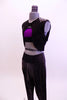 Black sparkle hip-hop harem pant has matching black vest. The shoulders of the vest have metal studs. Comes with iridescent purple half top and hair accessory. Side