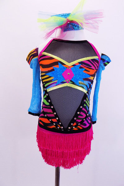 Tank style leotard has neon coloured zebra print over sheer black mesh. The hot pink fringe skirt adds a little spice. The back has hot pink cross straps that lace up corset style at mid-back. Comes with mesh gauntlets and a matching hair accessory Front