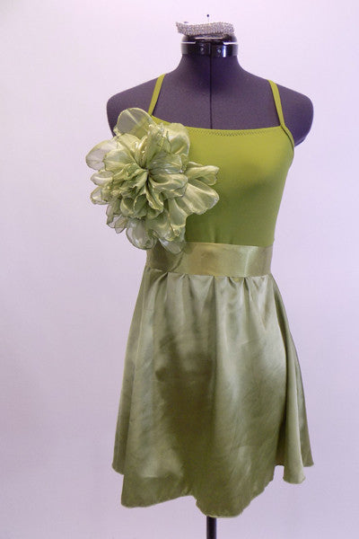 Olive coloured camisole leotard dress has satin skirt and satin sash. There is a large soft organza flower on the upper right side of the bodice. Very simple, and soft. Comes with crystal barrette hair accessory. Front