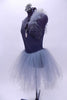 Grey cross over leotard dress has crystals on the left bust & long tulle skirt. There is a large drop crystal accent at the front. Comes with hair accessory. Side