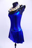 Electric blue halter leotard dress has attached Egyptian style gold and black, jewel/crystal covered collar . There are also jewels and Swarovski crystals at front and sides of waistline. Dress has an open back, attached box skirt and large gold sequined applique at lower back. Side
