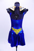 Electric blue halter leotard dress has attached Egyptian style gold and black, jewel/crystal covered collar . There are also jewels and Swarovski crystals at front and sides of waistline. Dress has an open back, attached box skirt and large gold sequined applique at lower back. Back