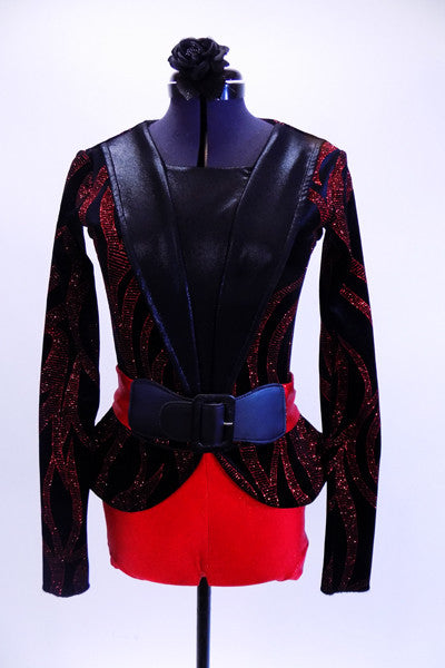 Red and black short unitard is brought to life by a formal blazer with red shimmering branch designs, shiny black lapels, peplum hip accent and a wide red belt with black buckle. Great for tap or musical theatre. Comes with matching black hair accessory. Front
