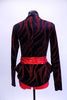 Red and black short unitard is brought to life by a formal blazer with red shimmering branch designs, shiny black lapels, peplum hip accent and a wide red belt with black buckle. Great for tap or musical theatre. Comes with matching black hair accessory. Back