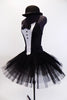 pleated, tacked tutu with ruffled panty. The Costume is completed with a black bowler hat with crystal accents. Side