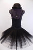 pleated, tacked tutu with ruffled panty. The Costume is completed with a black bowler hat with crystal accents. Back