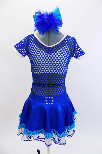 With sparkle bra top sits below a large weave blue mesh dress with white piping. The attached shimmery skirt has an aqua ruffle and a white petticoat with blue stars. Comes with matching hair accessory. Front