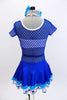 With sparkle bra top sits below a large weave blue mesh dress with white piping. The attached shimmery skirt has an aqua ruffle and a white petticoat with blue stars. Comes with matching hair accessory. Back