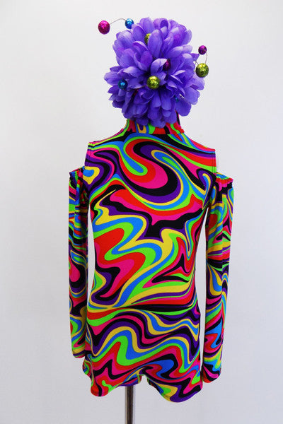 Short unitard with high neck, open shoulders & keyhole back has kaleidoscope of bright colour swirls. 1960's inspired look. Comes with large  hair accessory. Front