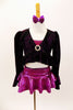 Three piece costume has magenta bra top & ruffled skirt. The ruffled crop coat has long trumpet sleeves & crystal broach accent. Comes with bow hair accessory. Front