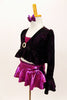 Three piece costume has magenta bra top & ruffled skirt. The ruffled crop coat has long trumpet sleeves & crystal broach accent. Comes with bow hair accessory. Side