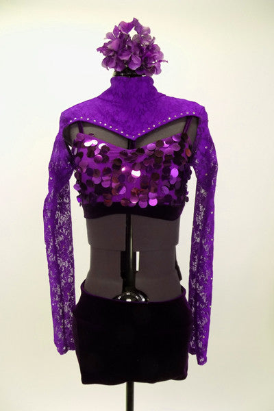 Large sequin covered purple velvet bra & purple lace mini-shrug with crystals. Purple velvet shorts complete the outfit. Comes with large purple hair accessory. Front