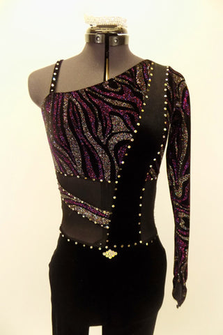Full length black, one sleeved unitard has streaks of purple-silver & black mesh insert along torso with black velvet crystal covered band. Has hair barrette. Front Zoom