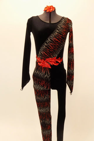 Full black unitard has scoop front & low back. Left leg & right arm have waves of red & silver flame patterns & red waist applique. Has matching sequined hair accessory.