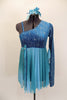 Turquoise glitter-velvet, one shoulder A-line dress with single long sleeve, has soft chiffon draping extending to wrist. Chiffon skirt fades from dark to light aqua and had bow accent on right waist. Comes with matching hair accessory. Front