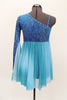 Turquoise glitter-velvet, one shoulder A-line dress with single long sleeve, has soft chiffon draping extending to wrist. Chiffon skirt fades from dark to light aqua and had bow accent on right waist. Comes with matching hair accessory. Back