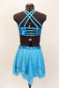 Aqua sequined bra top has triple strap front closure & criss-cross back. Matching skirt has layers of crystaled chiffon. Comes with floral hair accessory. Back
