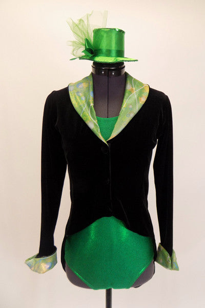 Black tailcoat has green collar, and matching green mini top hat. Front
