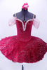 Deep cherry red velvet 10-layer white pleated platter tutu has attached ruffled panty. The velvet overlay and bodice has pink and silver branch design in the fabric. The sweetheart neckline has white lace trim with tiny rose accents and gathered chiffon shoulder drapes. Comes with matching floral hair accessory. Front