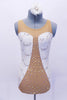 Nude mesh leotard has white sequined lace inserts on sides in a sweetheart shape. The center is covered with AB Swarovski crystals. Back is open with lace band up the center. Comes  with matching  white lace hair accessory. Front