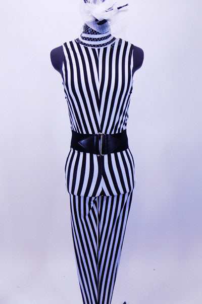 Black and white vertical stripped unitard has high collar and open back. It is lined in body with soft stretch knit.  Costume comes with wide black stretch belt accent and black & white feather accessory with birdcage veil. Front